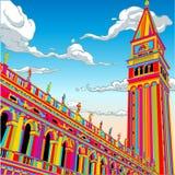 Башня колокол Сан Marco в счастливой радуге иллюстрация вектора