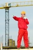 башня крана строителя работая Стоковое Изображение RF