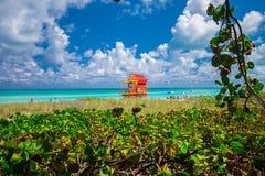 Башня личной охраны в Miami Beach, южном пляже Флорида США Стоковая Фотография