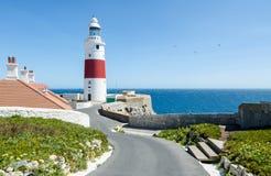 Башня маяка или Виктории троицы маяка пункта Европы Великобританская заморская территория Гибралтара Стоковые Фото