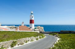 Башня маяка или Виктории троицы маяка пункта Европы Великобританская заморская территория Гибралтара Стоковое фото RF