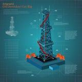 Башня нефтяной вышки или снаряжение газа infographic на голубой бумаге схемы Стоковые Фото