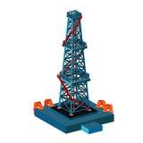 Башня нефтяной вышки на белизне иллюстрация вектора