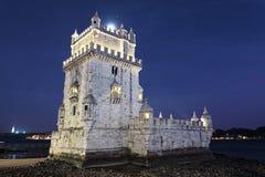 башня ночи belem Стоковое Фото