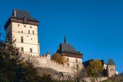 Башня основы iwith замка Karlstein взгляд городка республики cesky чехословакского krumlov средневековый старый Стоковые Фото