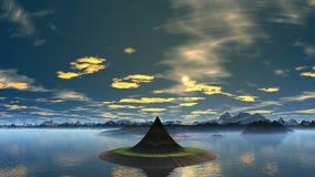 Башня - остров чужеземцев и рассвета иллюстрация штока