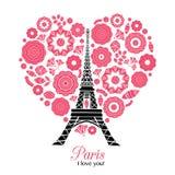 Башня Парижа Eifel вектора разрывая с сердцами дня валентинок St красными влюбленности Улучшите для открыток перемещения тематиче Стоковые Изображения RF