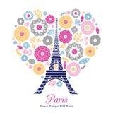 Башня Париж Eifel вектора разрывая с сердцами пинка дня валентинок St красными золотыми влюбленности Стоковые Фотографии RF