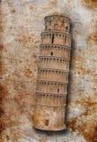 Башня Пизы на старой поврежденной античной предпосылке Стоковые Фото