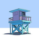 Башня предохранителя пляжа иллюстрация вектора