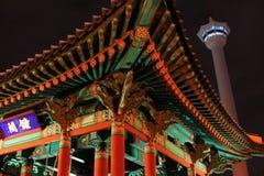 Башня Пусана на ноче стоковое фото