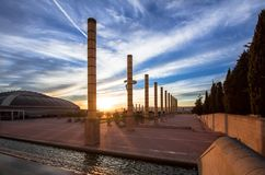 Башня радиосвязи конструировала для 1992 Олимпиад лета в баре Стоковые Изображения RF