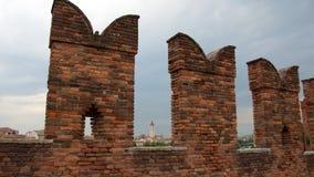 Башня Сан Зенона Maggiore от Castelvecchio, Вероны Стоковое Изображение