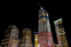 Башня свободы - один всемирный торговый центр - на ноче Стоковое Изображение