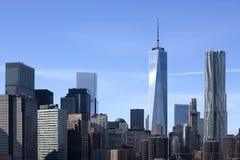 Башня свободы в городском Нью-Йорке Стоковые Изображения RF