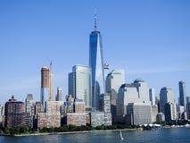 Башня свободы и финансовый район Нью-Йорк Стоковое Фото