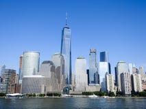 Башня свободы и финансовый район Нью-Йорк Стоковое Изображение