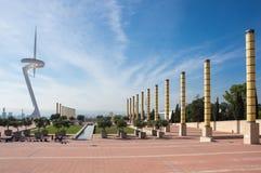 башня связей barcelona montjuic Стоковое Фото