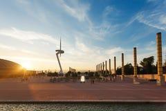 Башня связей Montjuic, Барселона Стоковые Изображения