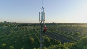 Башня связи антенны, вид с воздуха человека работает на высоте используя оборудование для обеспечения безопасности на предпосылке сток-видео