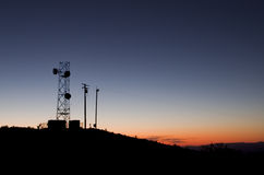 башня силуэта антенны Стоковые Фото
