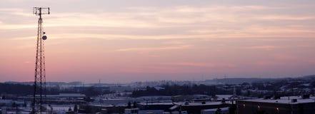 башня силуэта клетки панорамная розоватая Стоковая Фотография