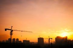 башня силуэта крана Стоковая Фотография RF