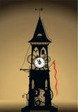 башня силуэта часов Стоковое Фото
