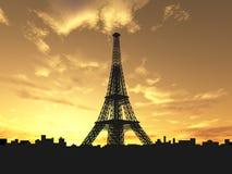 башня силуэта eiffel Стоковое Фото