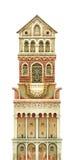 Башня сказки изолированная на белизне Художественное произведение графика Watercolour иллюстрация штока