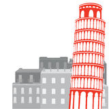 Башня склонности Пизы на предпосылке города Стоковое Изображение RF