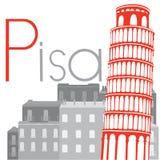 Башня склонности Пизы на предпосылке города, illustra вектора Стоковые Фотографии RF