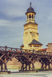 Башня собора коронования правоверная, Alba Iulia стоковое фото rf