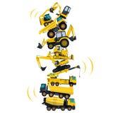 Башня собранная от машин здания Собранные работы земли белизна предмета машинного оборудования конструкции предпосылки изолирован Стоковое Изображение RF