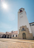 Башня с часами депо поезда и звезда солнца Стоковые Фотографии RF