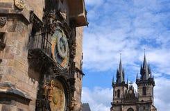 Башня с часами Праги Стоковые Фотографии RF