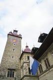 Башня с часами ратуши в Люцерне в Швейцарии Стоковая Фотография RF