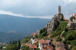 Башня с часами Arachova, Греции Стоковое Изображение RF