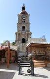 Башня с часами Roloi в городке Родоса старом Греция Стоковое Изображение RF