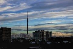 Башня ТВ Ostankino вечер Стоковое Изображение