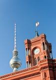башня телевидения здание муниципалитет berlin Стоковое Изображение