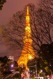 Башня токио весной на nighttime токио Стоковая Фотография RF