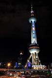 башня улицы shanghai перлы ночи востоковедная Стоковая Фотография RF
