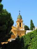 Башня церков кладбища с чешуистой крышей - Францией, славная Стоковое фото RF