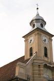 Башня церков показывая часы и Иисуса Стоковые Фото