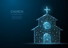 башня церков собора здания Полигональная сетка wireframe на голубом ночном небе ночного неба с точками, звездами Иллюстрация или  Стоковое фото RF