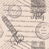 Башня штемпелей, собора Нотр-Дам и склонности с помечать буквами Париж и Пизу, безшовную картину на бежевой предпосылке стоковые фото