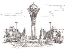 Башня Bayterek в Астане Стоковое Изображение