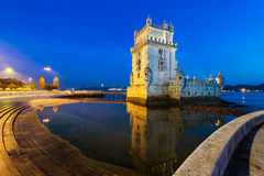 Башня Belem на ноче Стоковая Фотография