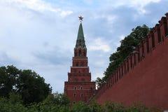 Башня Borovitskaya Москвы Кремля Стоковые Изображения RF